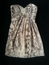H&M Beige Snake Print Laced Jewel Strapless Cocktail Prom Corset Dress Size 4