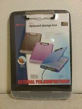 Slim Clipboard Storage Case Box With External Pen Compartment - Black
