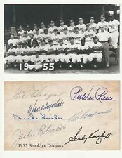 1955 Brooklyn Dodgers Team Photo 3x5 Postcard Robinson~Campanella~Facsimile Auto