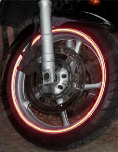 REFLECTIVE RED MOTORCYCLES CAR WHEEL RIM TAPES STICKER  6MM OR 10MM MADE IN UK