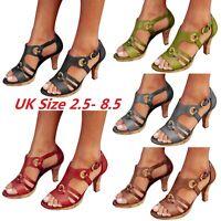 Summer Women Pointed Toe Buckle High Heels Sandals Shoes Strap Sandals UK GOUS