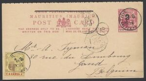 Mauritius 2c on 5c red postal card used 1901 uprated 4c to Belgium