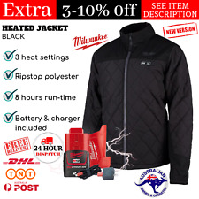 Mens Heated Jacket Milwaukee M12 Battery with Charger Outdoor Clothing Black 12V