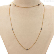 Silver Long Chain Necklace Jewelry Pave 1.92ct Diamond Beaded Necklace Sterling