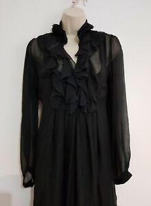 Ladies Phase Eight size M Black Feminine Silk Chiffon Tunic Dress Gothic Elegant