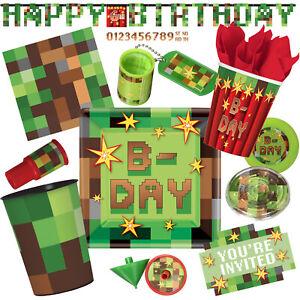 TNT PIXEL PARTY - Geschirr Deko Kindergeburtstag Geburtstag - für Minecraft-Fans