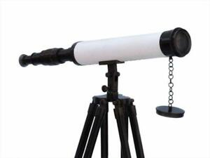 Nautical 18 Inch Brass Telescope Leather With Floor Standing Black Tripod Stand