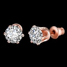NEW ARRIVAL ROSE GOLD PLATED CRYSTAL STUD EARRING - SIZE : 1.6CM X 0.7CM