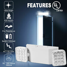 6 Pack Led Emergency Exit Light Adjustable 2 Head With Battery Back Up Ul 924