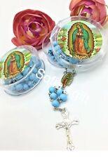 24-Baptism Party Favor Rosaries First Communion Blue  Recuerdos de Bautizo