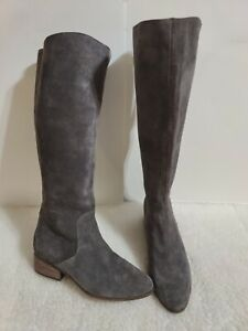 Lucky Brand Storm Grey Sueder Lanesha Back Zip Riding Boots 10