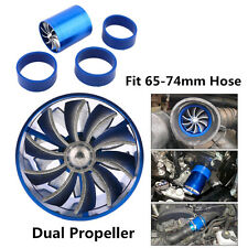 Blue Supercharger Dual Propeller Air Iintake Fuel Saver Turbo Charger Boost Fan