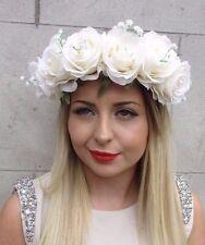Ivory White Baby's Breath Gypsophila Rose Flower Garland Headband Festival 2825