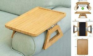 Signature Home Clip On Tray Sofa Table for Wide Couches. Couch Arm Tray Natural