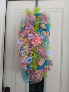 New  Handmade Spring Summer Mother's Day  Front Door Wreath Swag Butterfly Roses