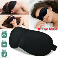 Soft Padded Blindfold 3D Eye Mask Travel Rest Sleep Aid Shade Cover Unisex Black