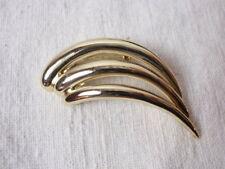 "Vintage Piscitelli Pin Brooch MCM Modernist Waves Gold Tone 1950-60s Retro 2"""