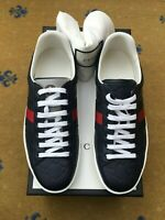 New Gucci Mens Trainers Sneaker Shoes Blue Leather Ace UK 8.5 US 9.5 42+ Web Red