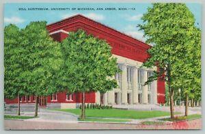 Ann Arbor Michigan~Hill Auditorium University~1940s Linen Postcard