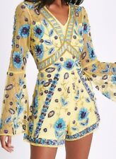 🎁River Island Yellow Floral Sequin Embellished Dress Playsuit Size 12 🎁
