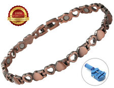 Ladies Copper Magnetic Health Bracelet 12 Magnets Heart Bangle Healing Therapy