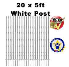 """20 X WHITE 5FT POLY POSTS - 156cm Tall Electric Fence 4ft 6"""" Fencing Stakes tape"""