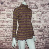 AGNONA Women's 100% Cashmere Mock Neck Pullover Sweater Purple Striped Sz 44