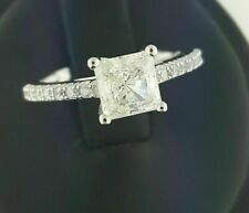 Ring Solid 14k White Gold Fn 1.5 Ct Princess Cut Moissanite Solitaire Engagement