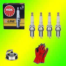4 x NGK V-Line 14 BKR6E-11 6465 Zündkerzen Nissan Mazda +Gratis Handschuhe
