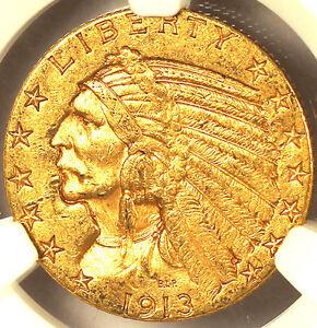 1913-S $5 AU58 NGC-INDIAN