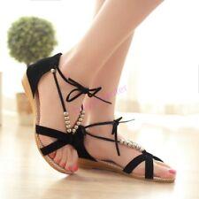 Womens Open Toe Sandals Straps Lace Up Low Heel Roman Shoes Hot Sale Summer Size