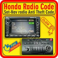 Honda Civic Jazz MK8 RADIO CODE CD Player Sat-Nav 2011 2006 2012 2010 2008 2009