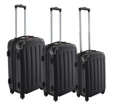 Dejuno Black ABS Hard Case Shell Rolling Spinner Luggage Suitcase Set 4-Wheel