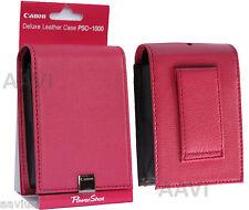 Canon Pink Leather Hard Carrying Case Bag Belt Loop for ELPH PowerShot Cameras