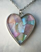 Beautiful Shell Resin Pendant Necklace| Natural Real Abalone Shell| Heart Silver