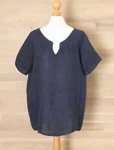 Martina Innocenti S Dusky Blue Oversized Pure Linen Top Made in Italy