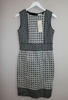 Capture Brand Black Geo Printed Structured Dress Size 10 BNWT #SL107