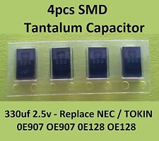 4x SMD Tantalum Capacitor 330uf 2.5v - replace NEC/TOKIN 0E907 OE907 0E128 OE128