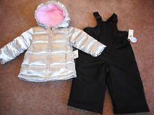 Snowsuits Silver Puffer Jackets Girls Black Snow Bibs Coats 2 pc Set  18 mos