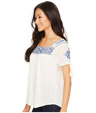 Lucky Brand Embroidered Peasant Knit Linen Blend Blouse Top 3X