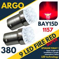 380 RED 9 LED STOP BRAKE TAIL LIGHT BULBS LAMPS 1157 BAY15D P21/5W X 2 PAIR 12V