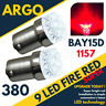 380 RED 9 LED STOP BRAKE TAIL LIGHT BULBS LAMPS 1157 BAY15D P21/5W X 2 PAIR 12V