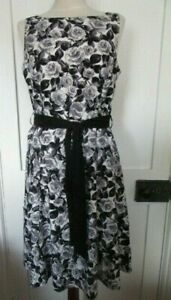 AUTONOMY ROSE PRINT COTTON DRESS WHITE GREY BLACK  U.K. SIZE 12
