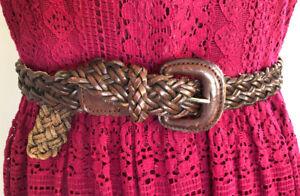 Sportscraft Leather BELT S M plaited braided brown full grain leather buckle