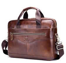New Business Mens Genuine Leather Briefcase Laptop Handbag Shoulder Bag