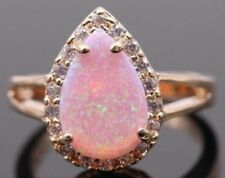 Teardrop Pink Fire Opal 925 Silver Sz 9 Moonstone Rose Gold Band Ring USA SELLER