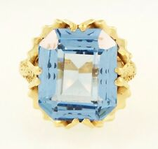 9Carat Yellow Gold 9.57ct Emerald Cut Blue Topaz Solitaire Ring (Size N) 12x14mm