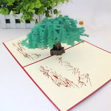 3D Invitation Cards Creative Chinese Style Greeny Pines And Cypress Postcard N7