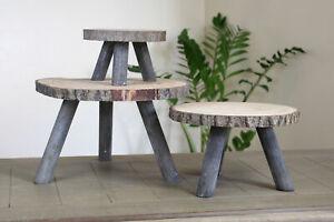 Holz Baumscheiben Beistelltisch - 3 Größen - Blumenhocker Deko Tisch Hocker