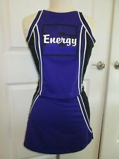 "New Energy Cheerleader Uniform Adult Sized 34"" Top 27 Waist Purple Black Fitted"